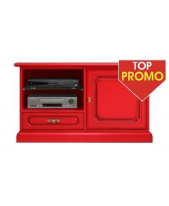 Porta tv in legno con cassetto e anta, colore rosso