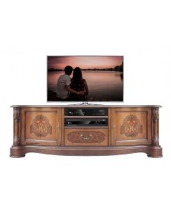 Mobile porta TV intagliato e intarsiato, Art. A-331