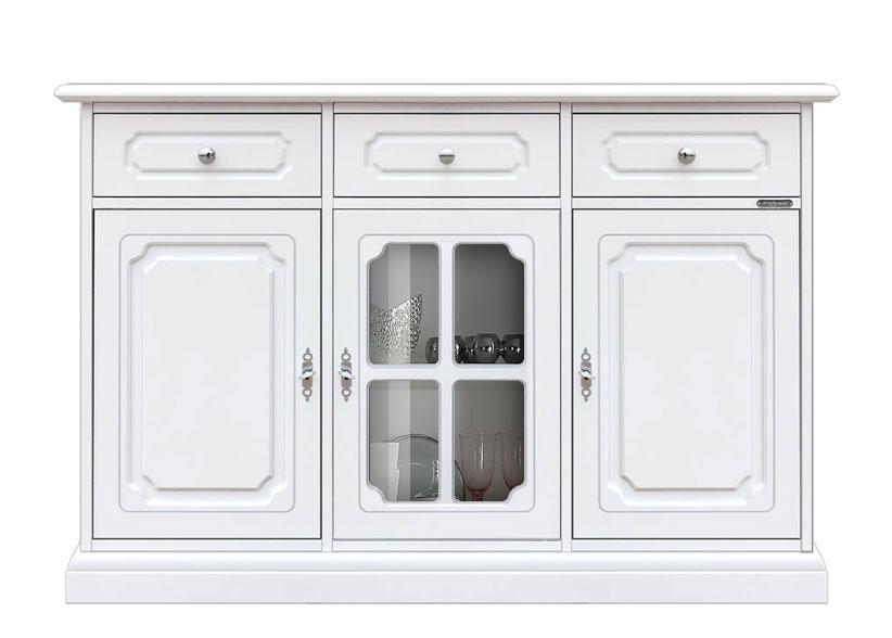 Credenza 3 ante 3 cassetti in legno e vetro, credenza bianca con ...