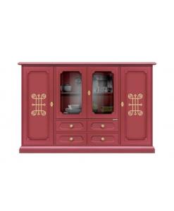 Credenzone rosso rubino con dettagli e maniglieria dorata