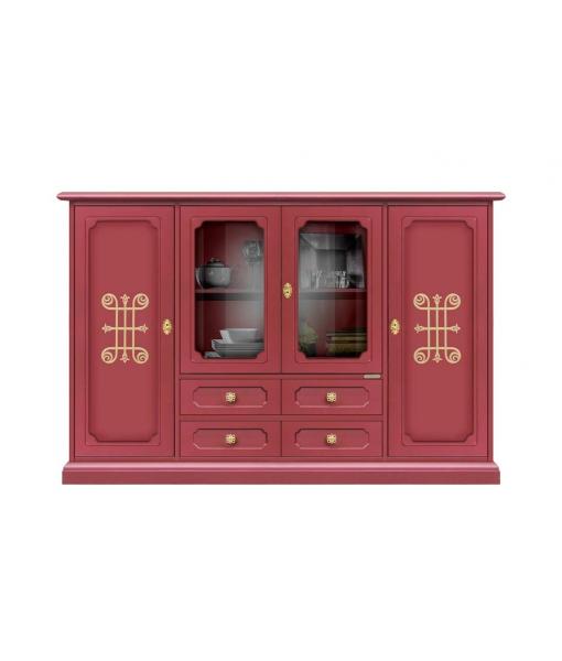 Credenzone rosso rubino con dettagli e maniglieria dorata, Art. 3100-RU