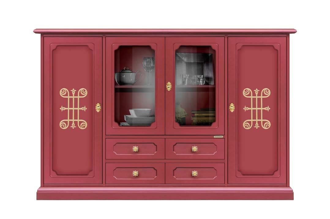 Credenza Da Cucina Rossa : Credenza grande legno rossa rubino ante a cassetti