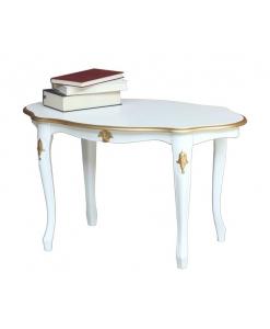 Tavolino ovale laccato dettagli oro o argento