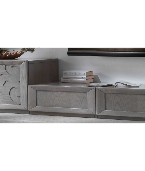 Base porta tv con cassettoni in legno