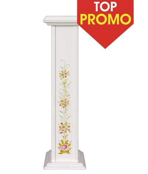 Colonna portavasi in legno laccata con decori floreali dipinti a mano, Art. PV-01-DEC-promo
