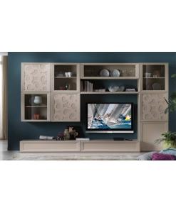 Composizione parete soggiorno in legno