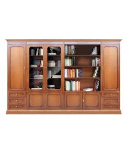 Composizione parete per soggiorno con vetrina e libreria