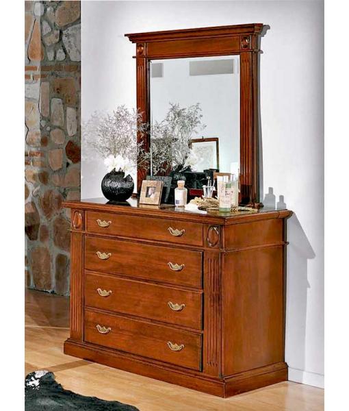 Comò in legno con specchio abbinato, camera da letto classica