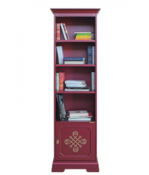 Libreria laccata color rubino con fregio oro