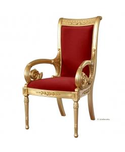 Trono dorato, sedia in foglia oro per un grande salotto