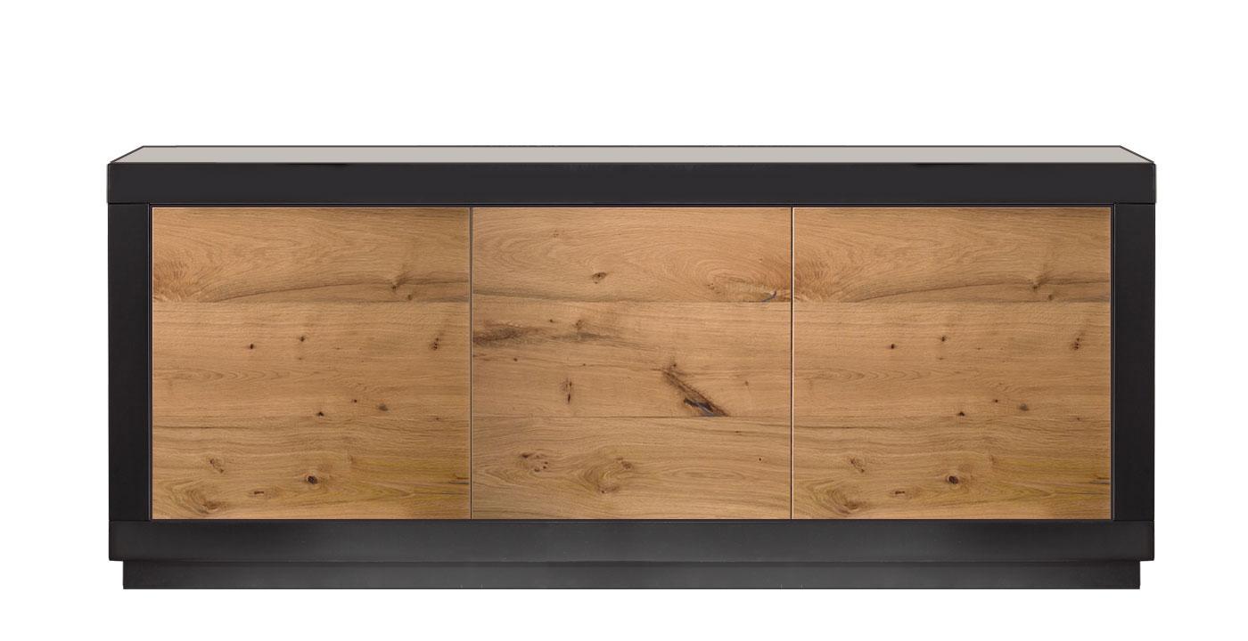 Credenza Moderna Nera : Madia 3 ante moderna in legno bassa laccata nero e