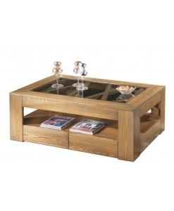 Tavolino 4 cassetti piano in legno