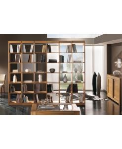 Libreria bifacciale in legno di frassino