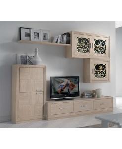 Composizione soggiorno legno naturale