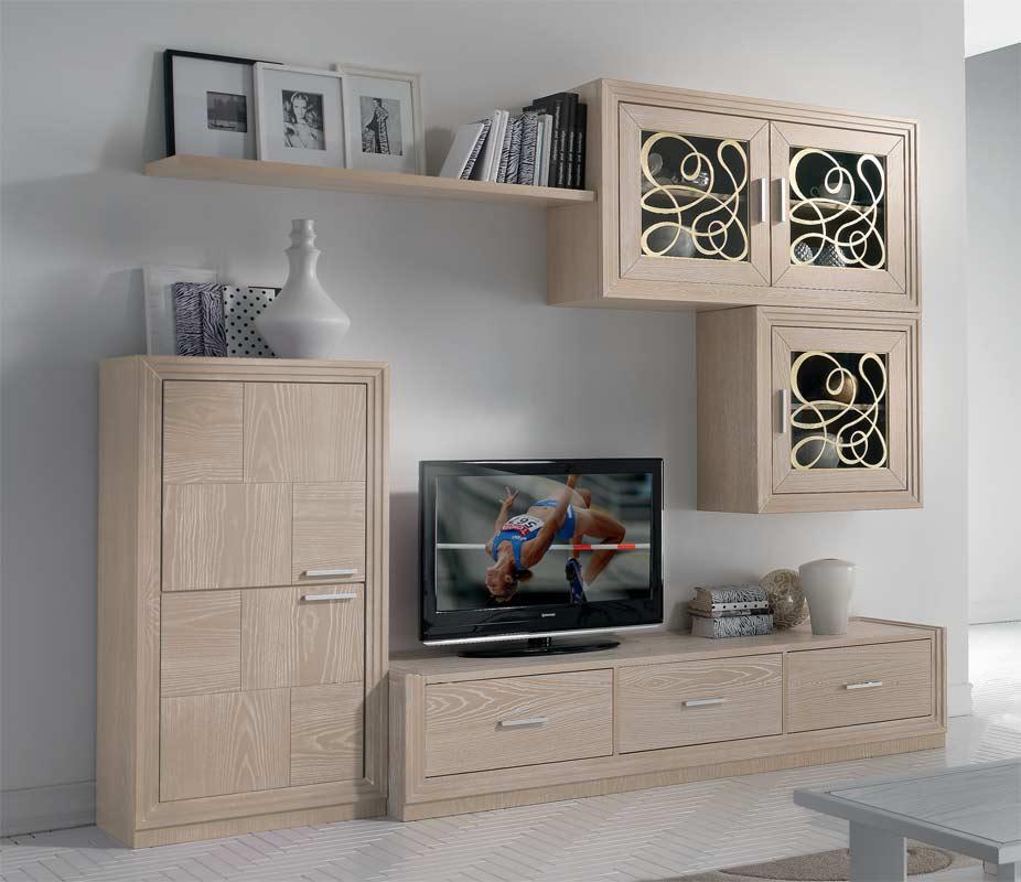 Composizione soggiorno legno naturale\
