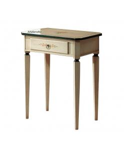 Tavolino con cassetto decorato alto e rettangolare