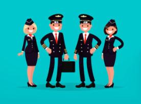 Personale di bordo in aereo