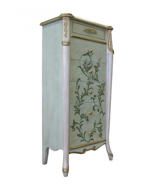 Cassettiera decorata a mano - 6 cassetti e con piedini, Art. 6709-GR4