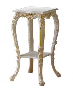 Portafiori, portavasi, portalampada in legno laccato bianco con decorazioni oro