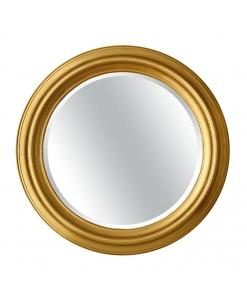 Specchiera rotonda in legno foglia oro