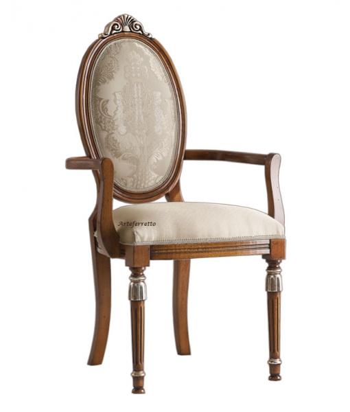 Sedia capotavola classica con braccioli e dettagli argentati, Art. MS-11