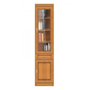 Modulo libreria 1 cassetto, 1 anta in vetro e 1 in legno