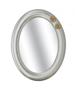 Specchiera ovale con fiori in rilievo