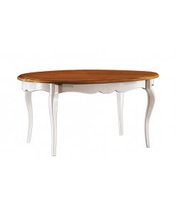 Tavolo ovale da pranzo colore ciliegio / bianco