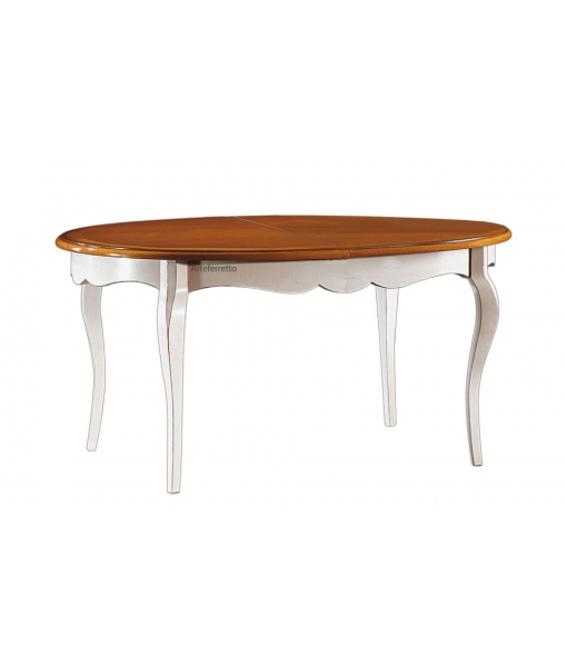 Tavolo ovale da pranzo colore ciliegio / bianco, Art. FR-345