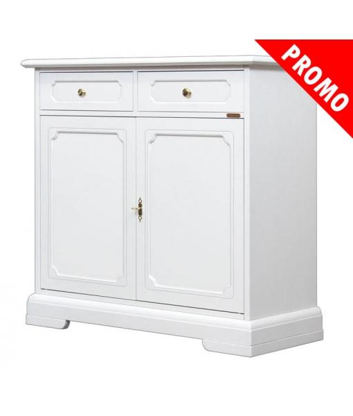 Credenza 2 ante e 2 cassetti in legno laccato bianco, Art. 3200-B-SP