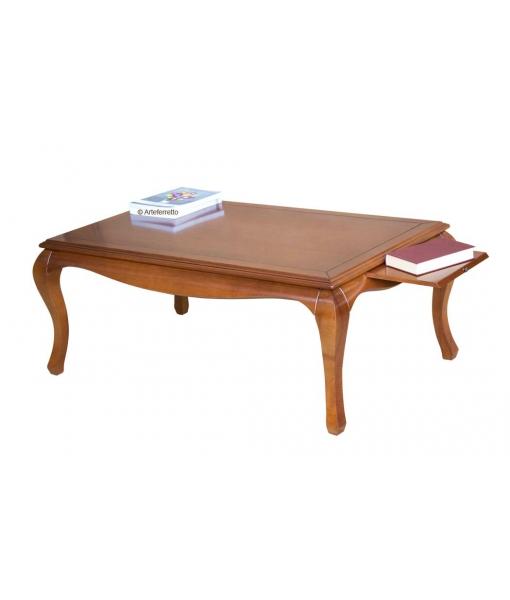 Tavolino in legno con tiretto aperto