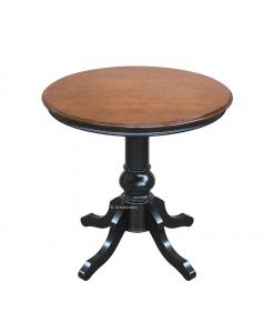 Tavolino rotondo bicolore, nero e bassano