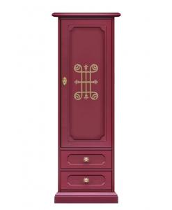Armadietto a colonna rosso rubino con dorature