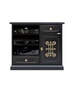 Mobile porta TV nero con fregio dorato
