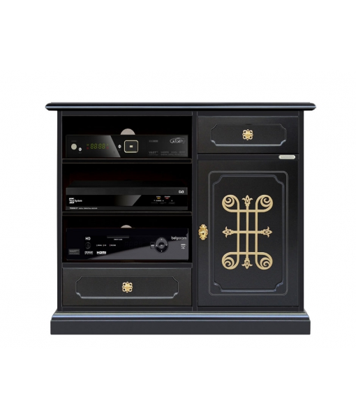 Mobile porta TV nero con fregio dorato, Art. 3056-N-YOU