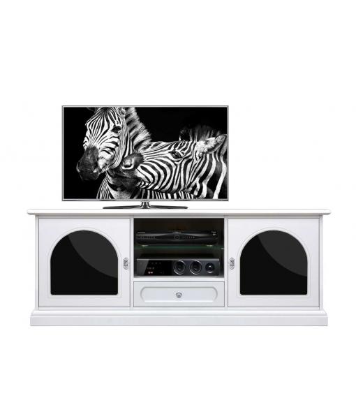 Mobile porta TV bianco con plex metacrilato nero, Art. 3059-PL