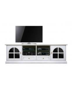 Mobile porta TV bianco con inserti di plex nero lucido