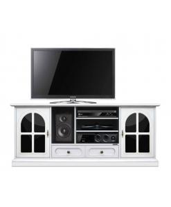 Mobile porta TV bianco da salotto / sala da pranzo con plex nero