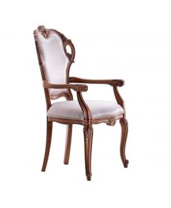 Sedia capotavola in legno intagliato, imbottita e tappezzata, da salotto