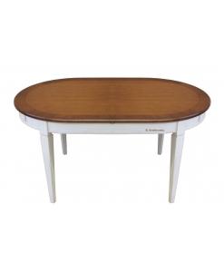 Tavolo ovale bicolore ciliegio / noce e bianco / avorio / nero