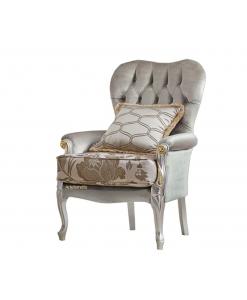 Poltrona da salotto imbottita, con cuscino e dettagli oro e argento
