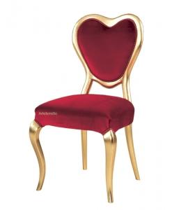 Sedia cuore Valentino in foglia oro e tessuto rosso