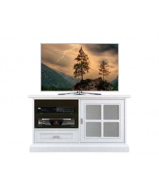 Mobile porta TV bianco con vetro sabbiato/satinato, Art. 3820-QG