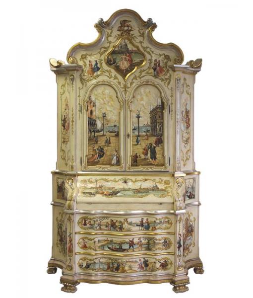 Mobile Trumeau dipinto a mano e decorato con foglia argento e oro