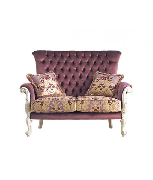 Divanetto classico 2 posti da salotto con cuscini, Art. MS-C212