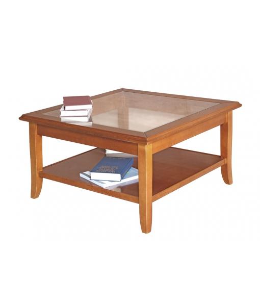 Tavolino basso da salotto con piano in vetro, Arteferretto