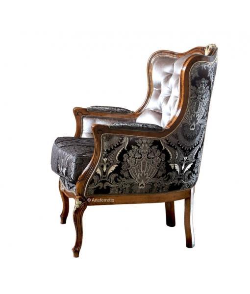 Poltrona da salotto con cuscino e lavorazione capitonné, Art. MS-3191