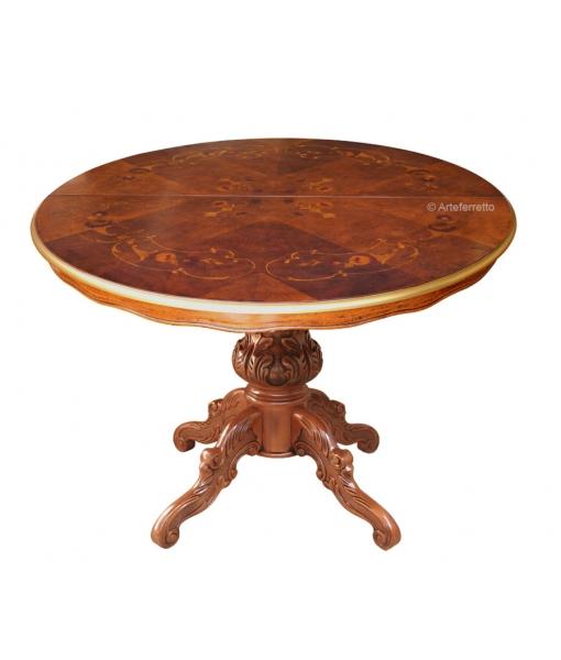 Tavolo per sala da pranzo con bordo dorato, Arteferretto