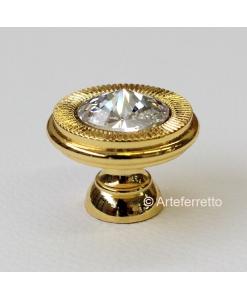 Pomello per mobili in metallo dorato ed elemento Swarovski