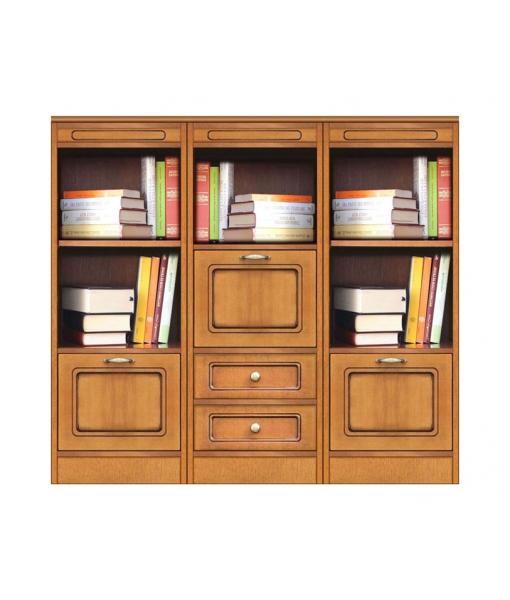 Composizione libreria bassa modulare con 3 ante e 2 cassetti, Art. COMPOS-3D
